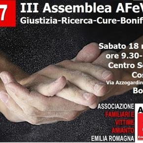 AFeVA Emilia Romagna: III Assemblea degli Associati – Giustizia-Ricerca-Cure-Bonifiche