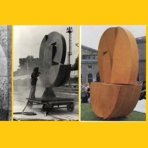 """Strage 2 agosto 1980 Bologna: continua l'impegno per la memoria dei lavoratori OGR – Ripulito il monumento """"LA GRANDE RUOTA"""" di Piazza MedaglieD'Oro"""