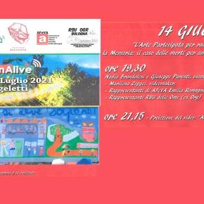 """14 giugno 2021 nel parco di Villa Angeletti alla Bolognina """"L'ARTE per raccontare l'Amianto alle OGR"""" proiezione del Documentario di ARTECITTA' """"Silenzio, si devesapere"""""""