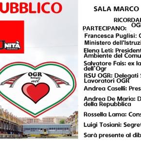 Alla Festa dell'Unità Bologna 29 agosto 2021: RICORDANDO MARCO VALDISERRA – OGR QUALEFUTURO?